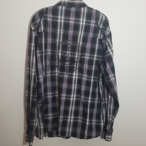 triple fat goose Shirts - Triple Fat Goose XL purple black plaid shirt